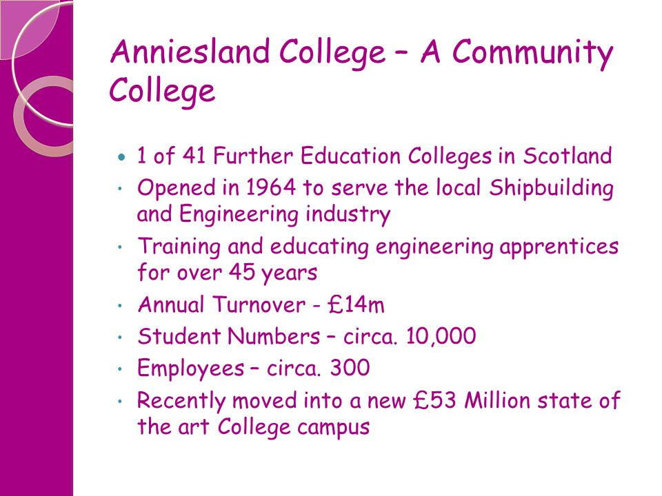 Anniesland College – A Community College 1 of 41 Further Education Colleges in Scotland Opened in 1964 to serve the local Shipbuilding and Engineering