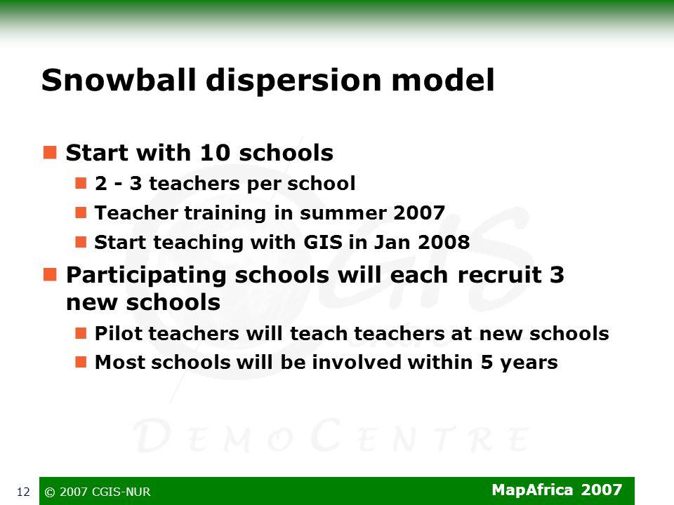MapAfrica 2007 © 2007 CGIS-NUR12 Snowball dispersion model Start with 10 schools 2 - 3 teachers per school Teacher training in summer 2007 Start teach