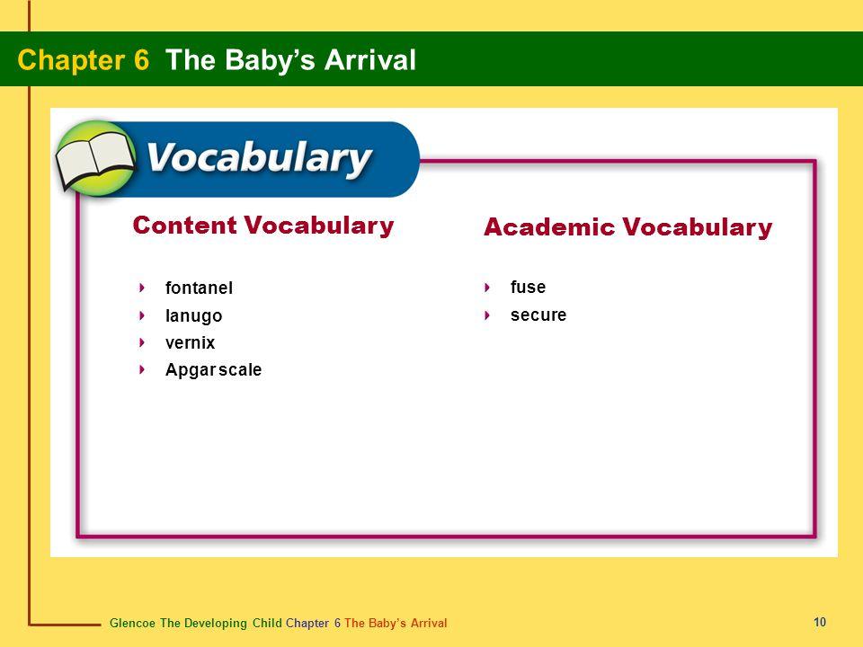 Glencoe The Developing Child Chapter 6 The Babys Arrival Chapter 6 The Babys Arrival 10 Content Vocabulary fontanel lanugo vernix Apgar scale Academic