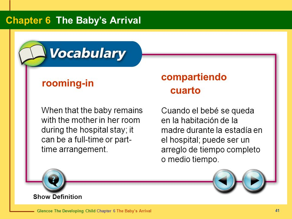 Glencoe The Developing Child Chapter 6 The Babys Arrival Chapter 6 The Babys Arrival 41 rooming-in compartiendo cuarto When that the baby remains with