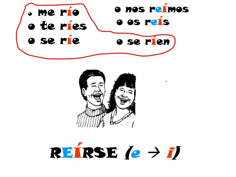 RE í RSE (e i) o me río o te ríes o se ríe o nos re í mos o os re í s o se r í en