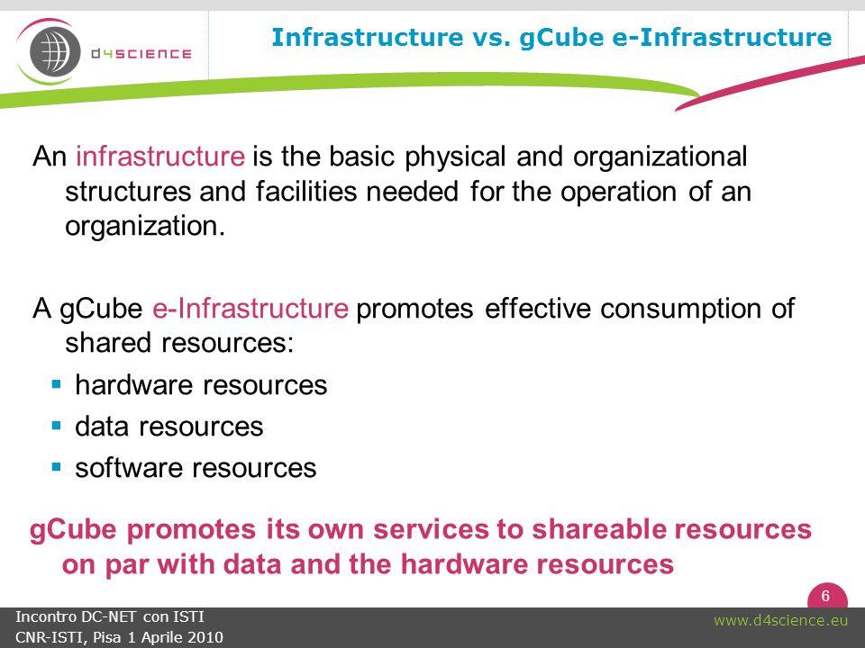 6 www.d4science.eu Incontro DC-NET con ISTI CNR-ISTI, Pisa 1 Aprile 2010 Infrastructure vs.
