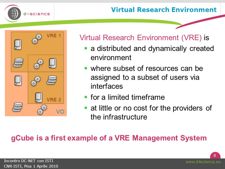 8   Incontro DC-NET con ISTI CNR-ISTI, Pisa 1 Aprile 2010 Virtual Research Environment Virtual Research Environment (VRE) is a distributed and dynamically created environment where subset of resources can be assigned to a subset of users via interfaces for a limited timeframe at little or no cost for the providers of the infrastructure VRE 2 VRE 1 VO gCube is a first example of a VRE Management System