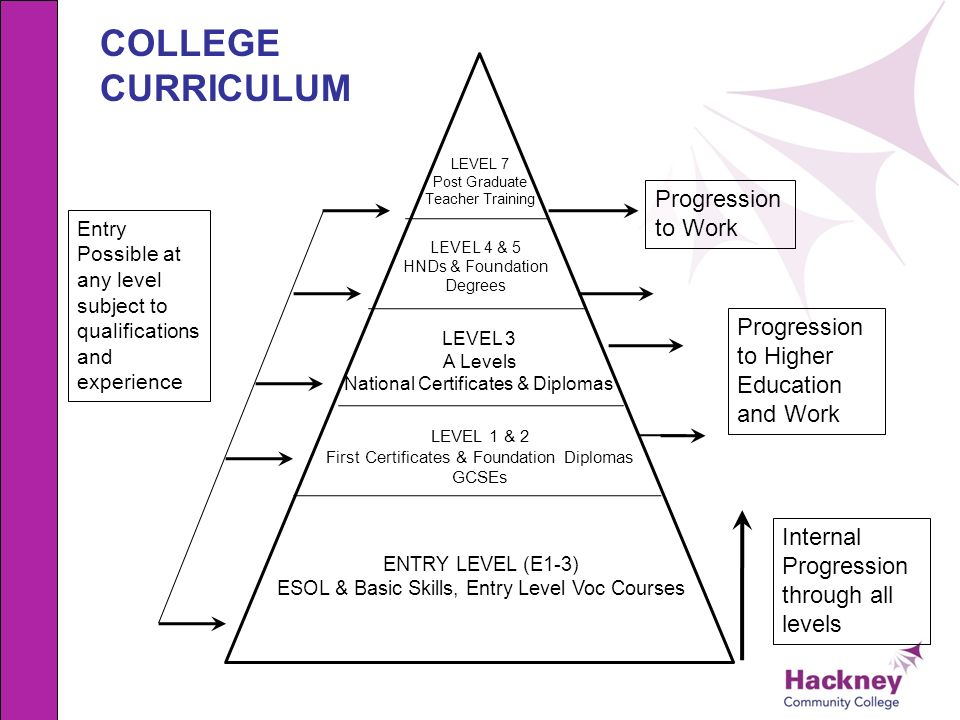 ENTRY LEVEL (E1-3) ESOL & Basic Skills, Entry Level Voc Courses LEVEL 1 & 2 First Certificates & Foundation Diplomas GCSEs LEVEL 3 A Levels National C