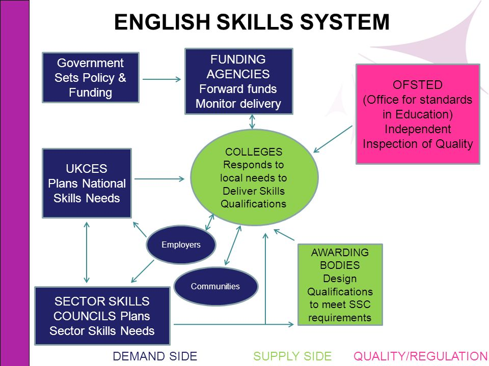 COLLEGES Responds to local needs to Deliver Skills Qualifications Employers UKCES Plans National Skills Needs Government Sets Policy & Funding SECTOR