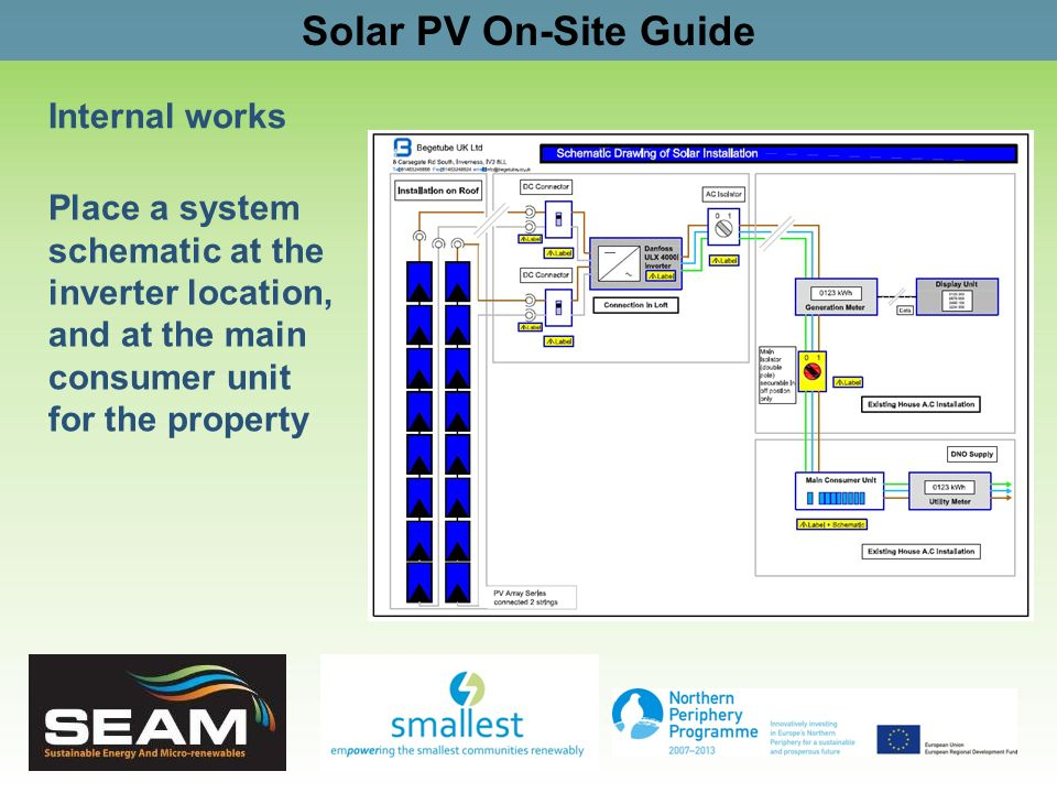 Solar PV On-Site Guide Internal works Place a system schematic at the inverter location, and at the main consumer unit for the property