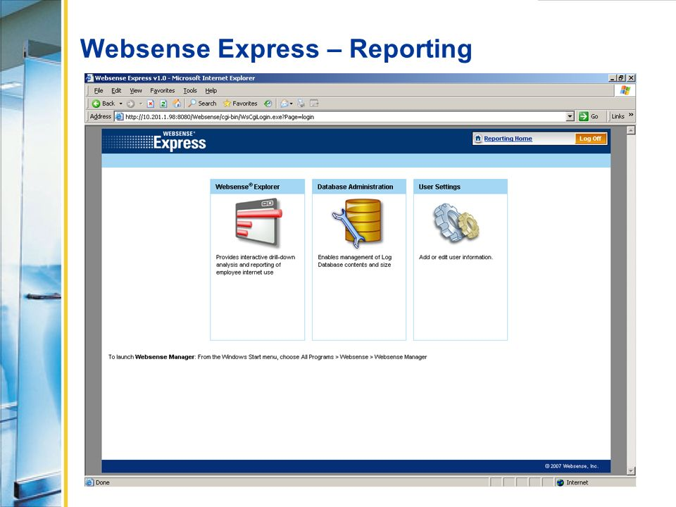 Websense Express – Reporting