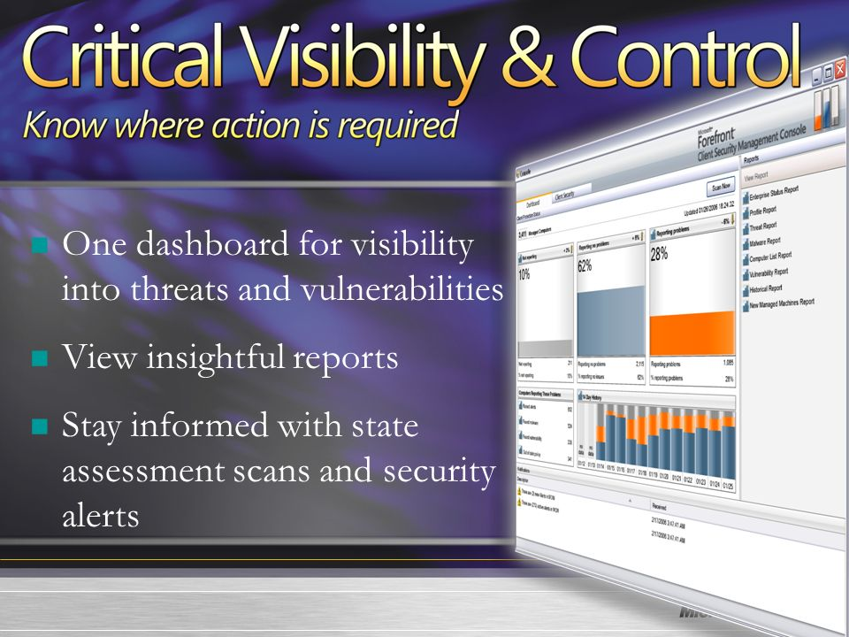 21 One dashboard for visibility into threats and vulnerabilities View insightful reports Stay informed with state assessment scans and security alerts