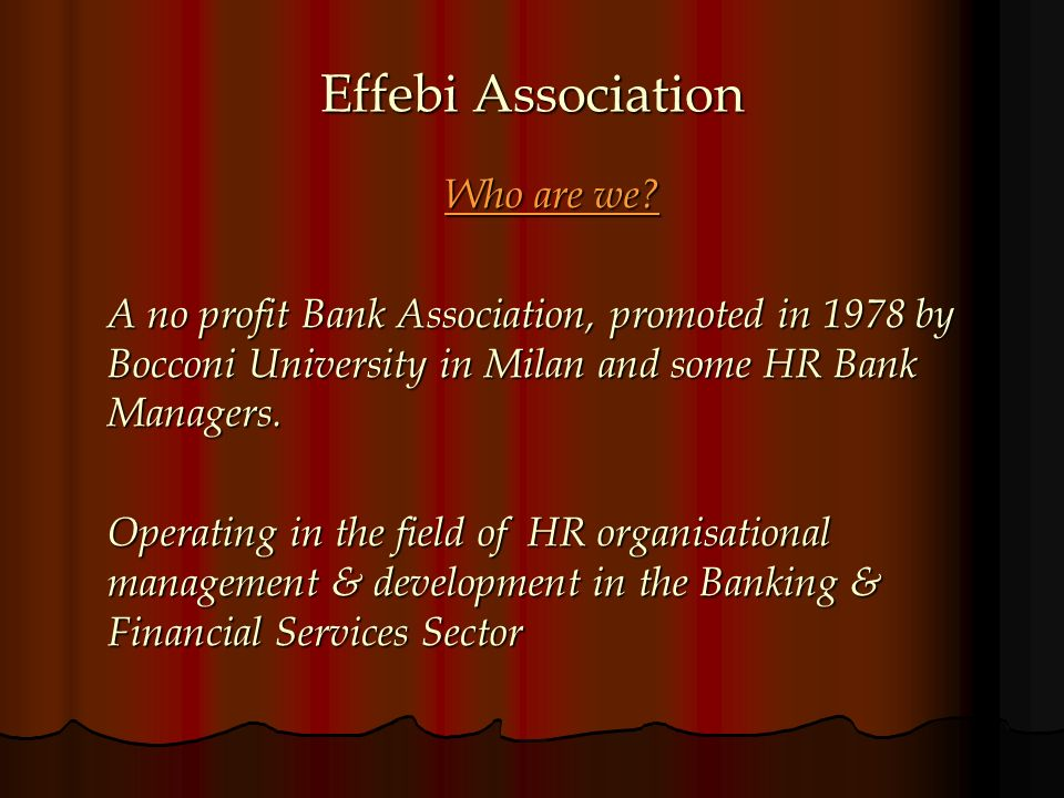 Effebi Association Who are we? A no profit Bank Association, promoted in 1978 by Bocconi University in Milan and some HR Bank Managers. Operating in t