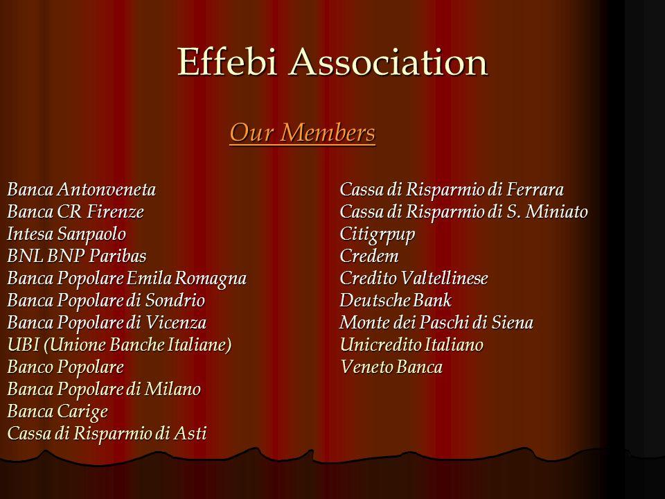 Effebi Association Our Members Banca AntonvenetaCassa di Risparmio di Ferrara Banca CR Firenze Cassa di Risparmio di S.