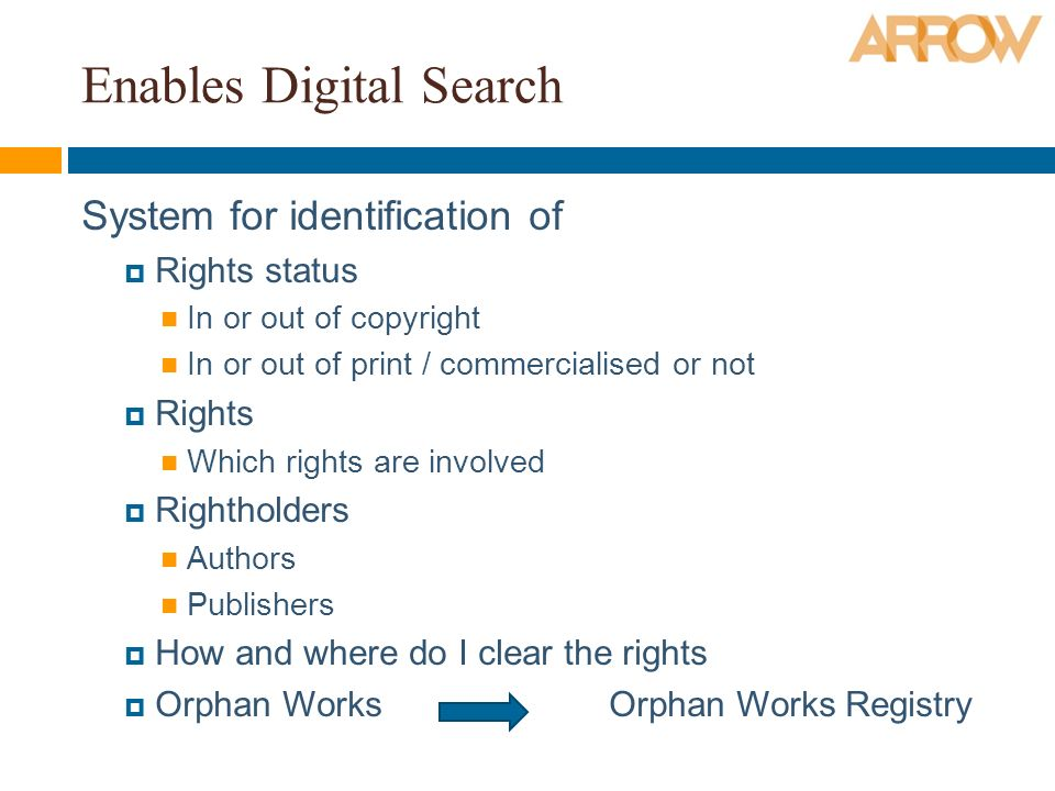Enables Digital Search System for identification of Rights status In or out of copyright In or out of print / commercialised or not Rights Which rights are involved Rightholders Authors Publishers How and where do I clear the rights Orphan Works Orphan Works Registry