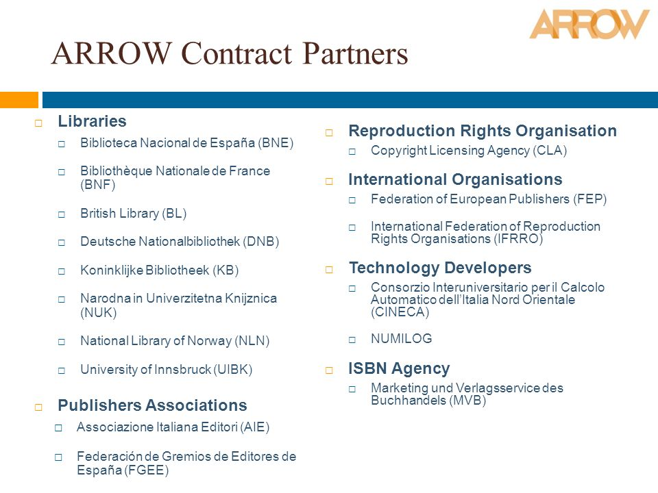ARROW Contract Partners Libraries Biblioteca Nacional de España (BNE) Bibliothèque Nationale de France (BNF) British Library (BL) Deutsche Nationalbibliothek (DNB) Koninklijke Bibliotheek (KB) Narodna in Univerzitetna Knijznica (NUK) National Library of Norway (NLN) University of Innsbruck (UIBK) Publishers Associations Associazione Italiana Editori (AIE) Federación de Gremios de Editores de España (FGEE) Reproduction Rights Organisation Copyright Licensing Agency (CLA) International Organisations Federation of European Publishers (FEP) International Federation of Reproduction Rights Organisations (IFRRO) Technology Developers Consorzio Interuniversitario per il Calcolo Automatico dellItalia Nord Orientale (CINECA) NUMILOG ISBN Agency Marketing und Verlagsservice des Buchhandels (MVB)