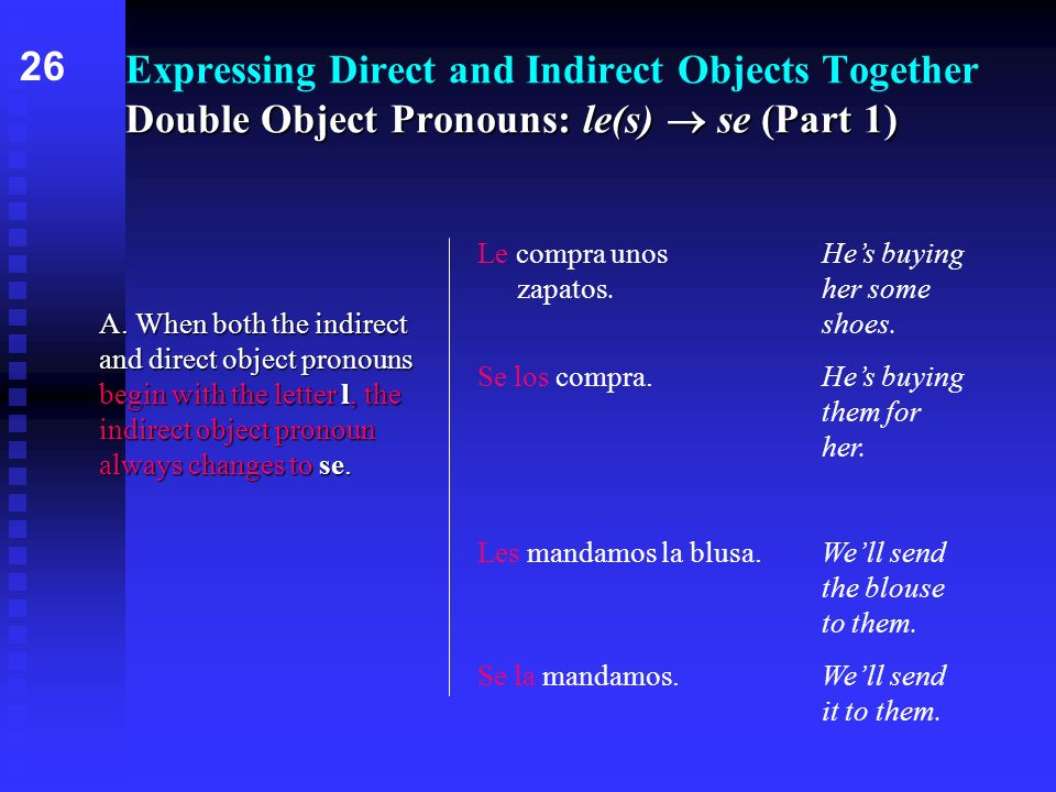 Double Object Pronouns: le(s) se (Part 1) Expressing Direct and Indirect Objects Together Double Object Pronouns: le(s) se (Part 1) A. When both the i