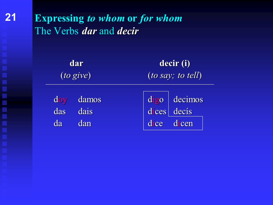dar and decir Expressing to whom or for whom The Verbs dar and decir dardecir (i) (to give)(to say; to tell) doydamosdigodecimos dasdaisdicesdecís dadandicedicen 21