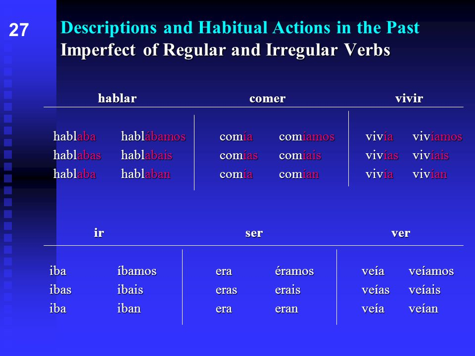 Imperfect of Regular and Irregular Verbs Descriptions and Habitual Actions in the Past Imperfect of Regular and Irregular Verbs hablarcomervivir habla