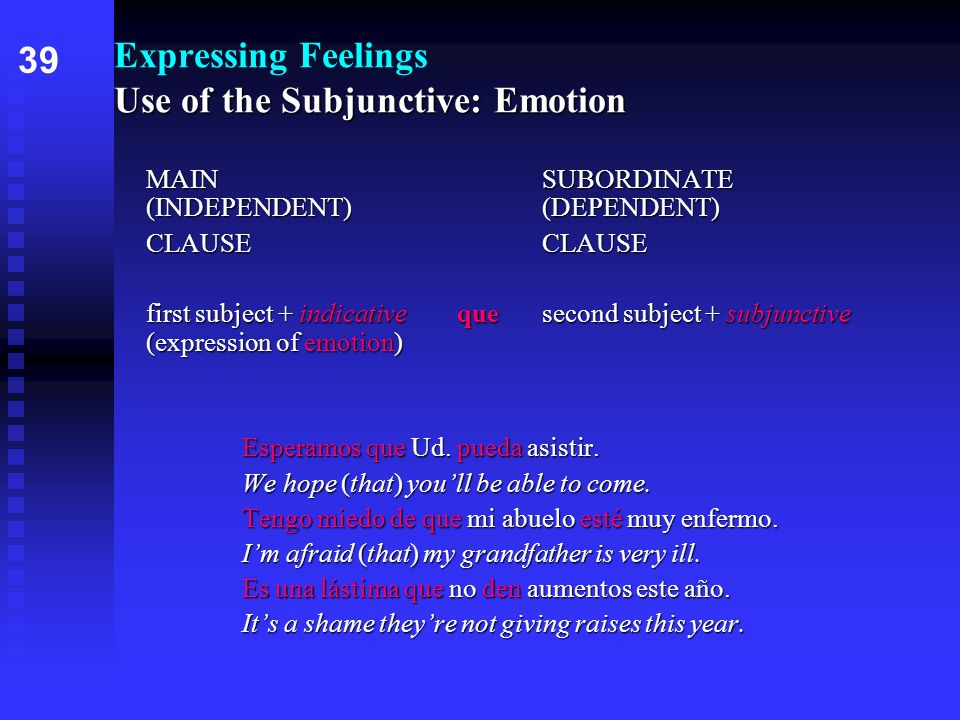 Use of the Subjunctive: Emotion Expressing Feelings Use of the Subjunctive: Emotion MAINSUBORDINATE (INDEPENDENT) (DEPENDENT) CLAUSE first subject + i