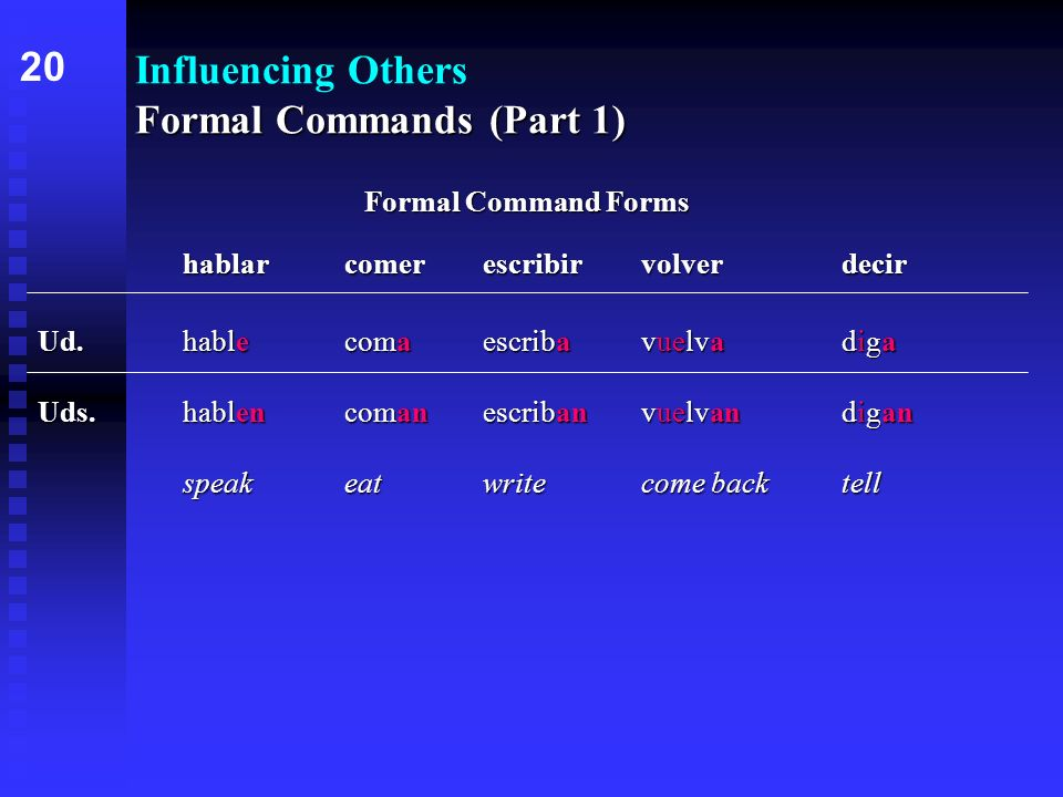 Formal Commands (Part 1) Influencing Others Formal Commands (Part 1) hablarcomerescribirvolverdecir Ud.hablecomaescribavuelvadiga Uds.hablencomanescribanvuelvandigan speakeatwritecome backtell 20 Formal Command Forms