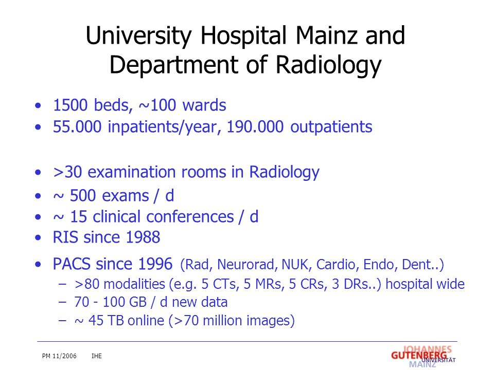 University Hospital Mainz and Department of Radiology 1500 beds, ~100 wards 55.000 inpatients/year, 190.000 outpatients >30 examination rooms in Radio