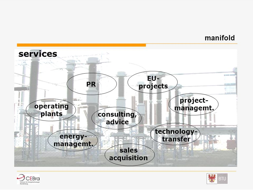 services manifold consulting, advice sales acquisition EU- projects operating plants PR technology- transfer project- managemt. energy- managemt.