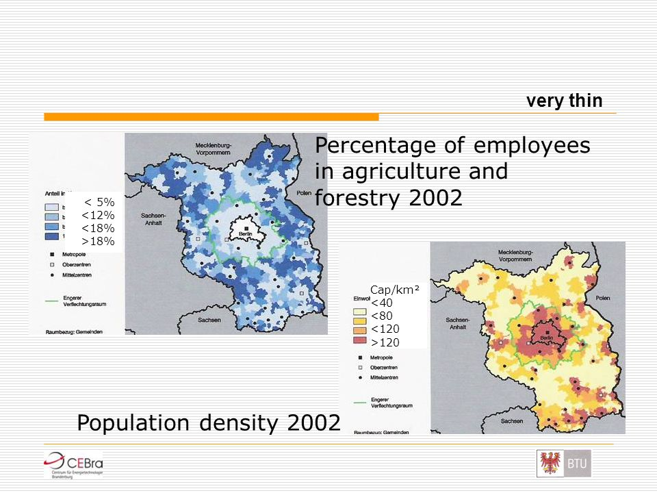 Percentage of employees in agriculture and forestry 2002 Population density 2002 very thin 18% Cap/km² 120