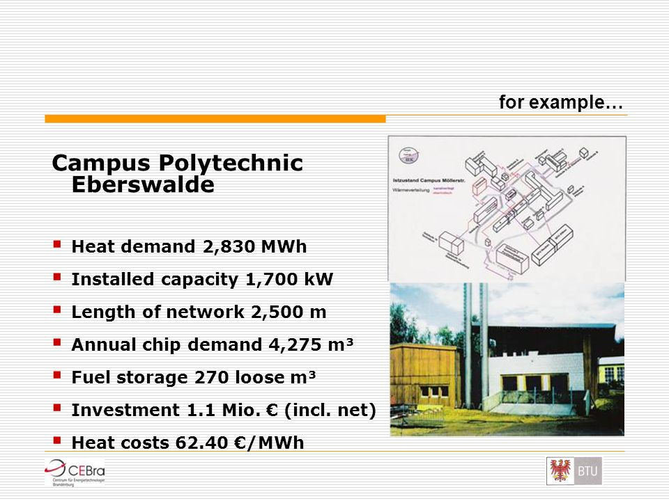Campus Polytechnic Eberswalde Heat demand 2,830 MWh Installed capacity 1,700 kW Length of network 2,500 m Annual chip demand 4,275 m³ Fuel storage 270