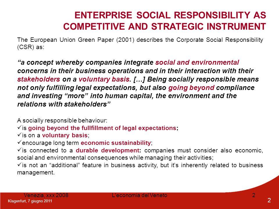 Klagenfurt, 7 giugno 2011 2 Venezia, xxx 2008L'economia del Veneto2 The European Union Green Paper (2001) describes the Corporate Social Responsibilit