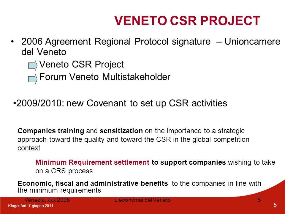 Klagenfurt, 7 giugno 2011 5 Venezia, xxx 2008L'economia del Veneto5 VENETO CSR PROJECT 2006 Agreement Regional Protocol signature – Unioncamere del Ve
