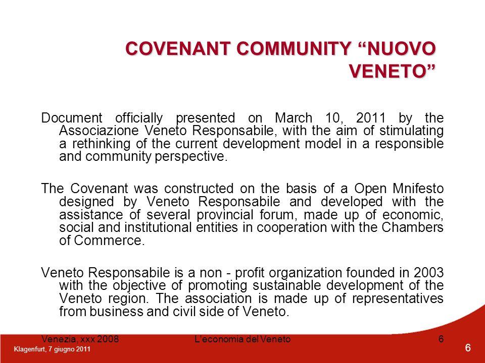 Klagenfurt, 7 giugno 2011 6 Venezia, xxx 2008L'economia del Veneto6 COVENANT COMMUNITY NUOVO VENETO Document officially presented on March 10, 2011 by