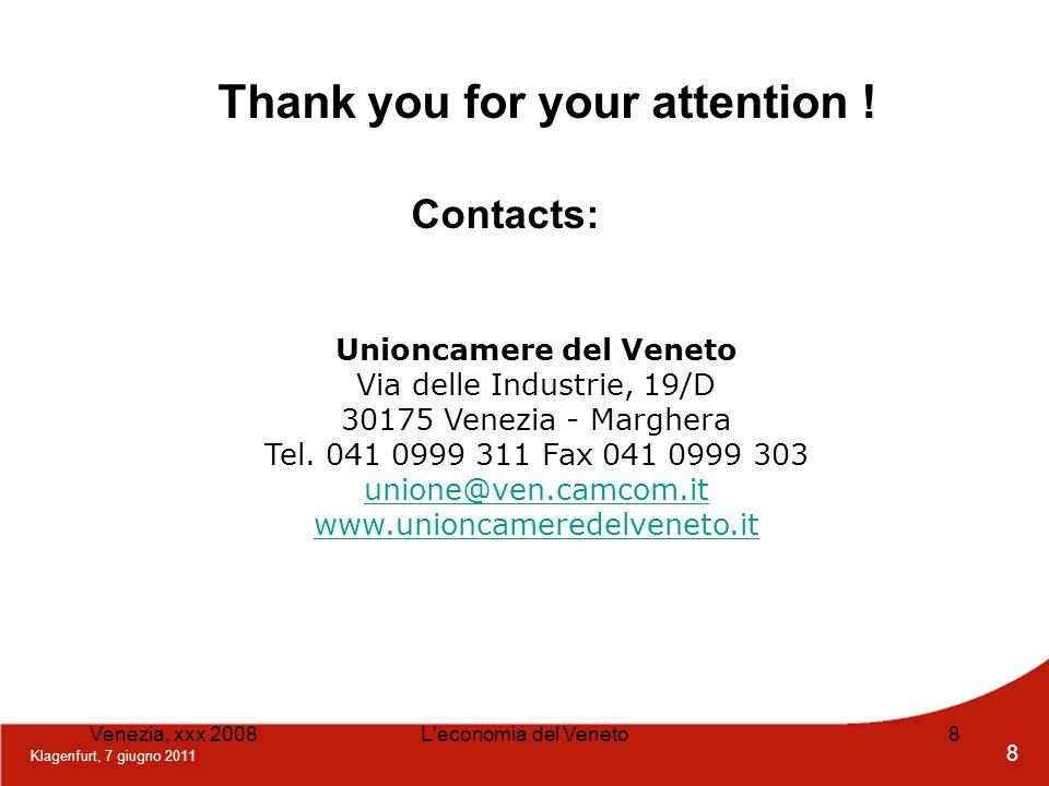 Klagenfurt, 7 giugno 2011 8 Venezia, xxx 2008L'economia del Veneto8 Unioncamere del Veneto Via delle Industrie, 19/D 30175 Venezia - Marghera Tel. 041