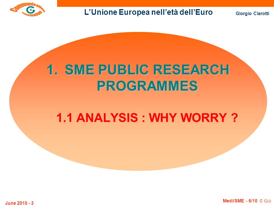 LUnione Europea nelletà dellEuro Giorgio Clarotti Medi/SME - 6/10 © Gi June 2010 - 44 THE QUEST FOR QUALITY (Metzler scales, Austria 1990-1995) uA co-ordinated attack from south-east economy : 40% cut price competition with varying quality.