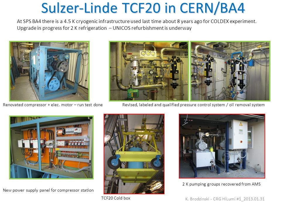 Sulzer-Linde TCF20 in CERN/BA4 K. Brodzinski - CRG HiLumi #1_2013.01.31 At SPS BA4 there is a 4.5 K cryogenic infrastructure used last time about 8 ye