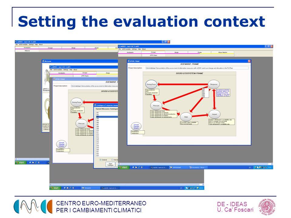 CENTRO EURO-MEDITERRANEO PER I CAMBIAMENTI CLIMATICI DE - IDEAS U. Ca' Foscari Setting the evaluation context