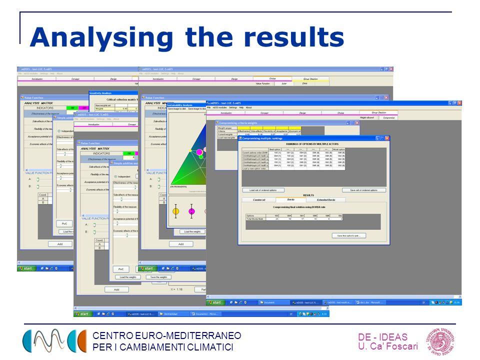 CENTRO EURO-MEDITERRANEO PER I CAMBIAMENTI CLIMATICI DE - IDEAS U. Ca' Foscari Analysing the results
