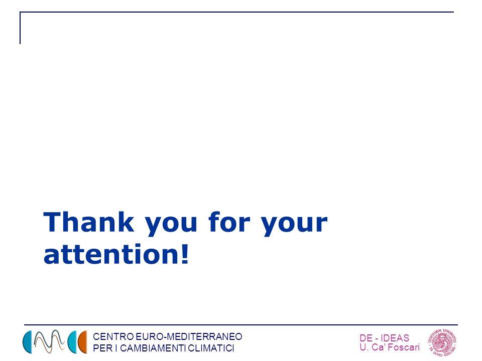 CENTRO EURO-MEDITERRANEO PER I CAMBIAMENTI CLIMATICI DE - IDEAS U. Ca' Foscari Thank you for your attention!