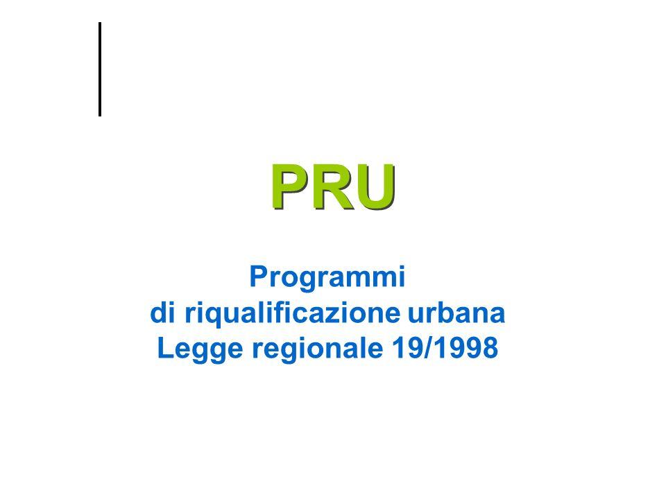 Programmi di riqualificazione urbana Legge regionale 19/1998 PRU