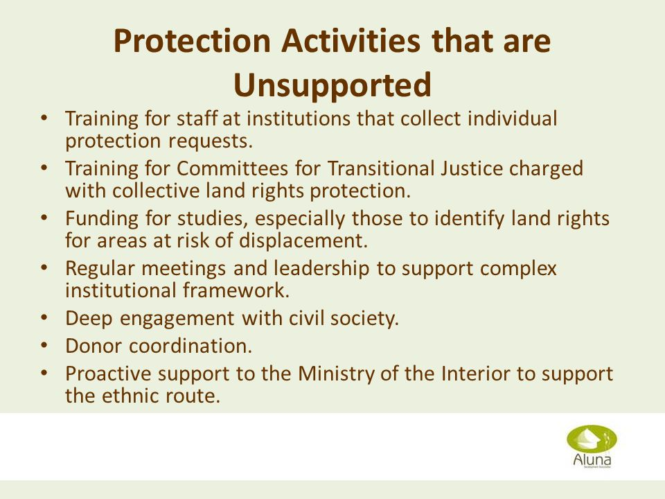 Protection Activities that are Unsupported Training for staff at institutions that collect individual protection requests.