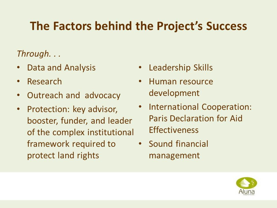The Factors behind the Projects Success Through...