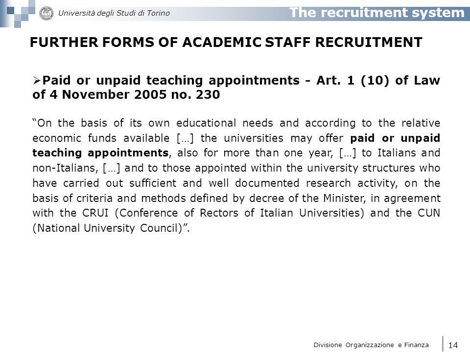 Divisione Organizzazione e Finanza Università degli Studi di Torino 15 Decentralised procedures (Law 3 July 1998 no.