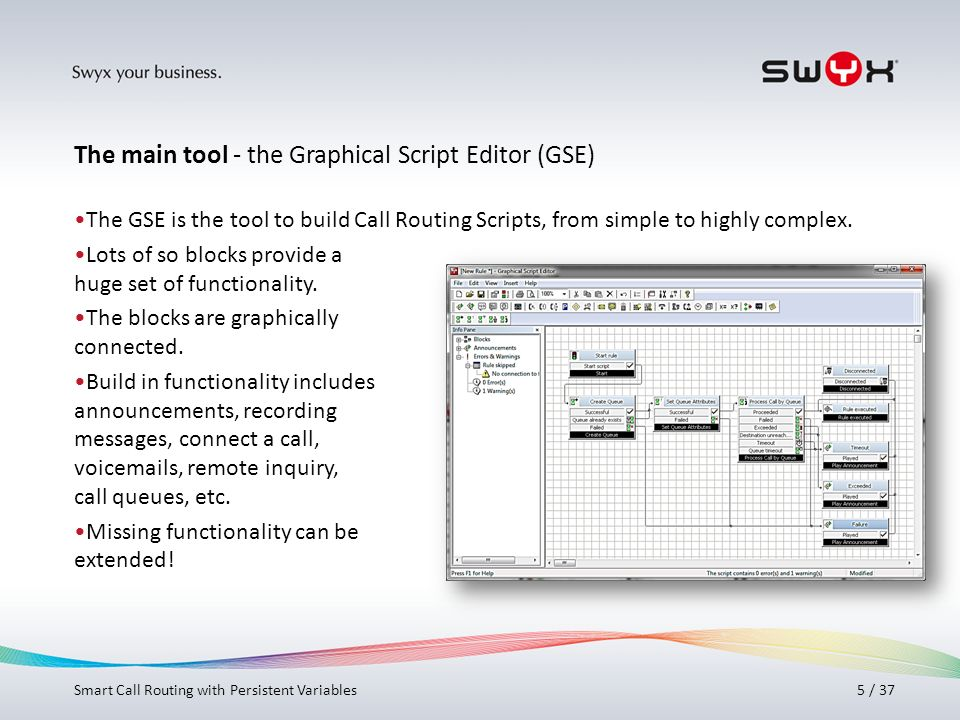 Titel bitte hier angeben! 5 / 37 The GSE is the tool to build Call Routing Scripts, from simple to highly complex. Lots of so blocks provide a huge se