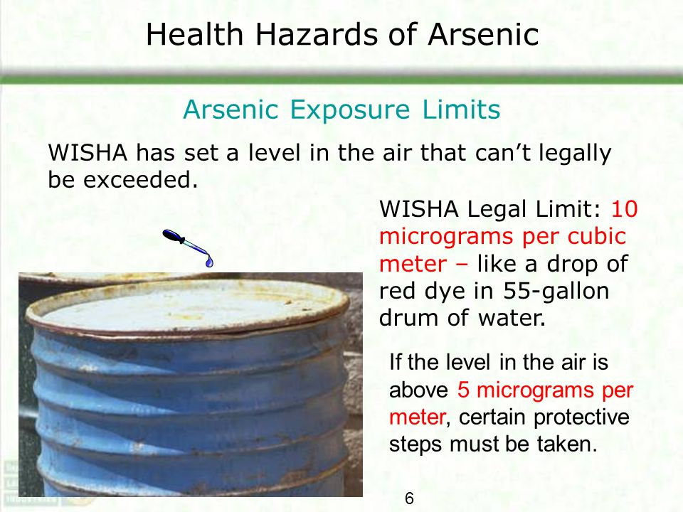 Health Hazards of Arsenic Arsenic Exposure Limits WISHA has set a level in the air that cant legally be exceeded. WISHA Legal Limit: 10 micrograms per