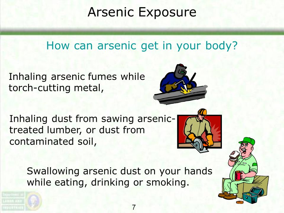 Arsenic Exposure How can arsenic get in your body? Inhaling arsenic fumes while torch-cutting metal, Swallowing arsenic dust on your hands while eatin