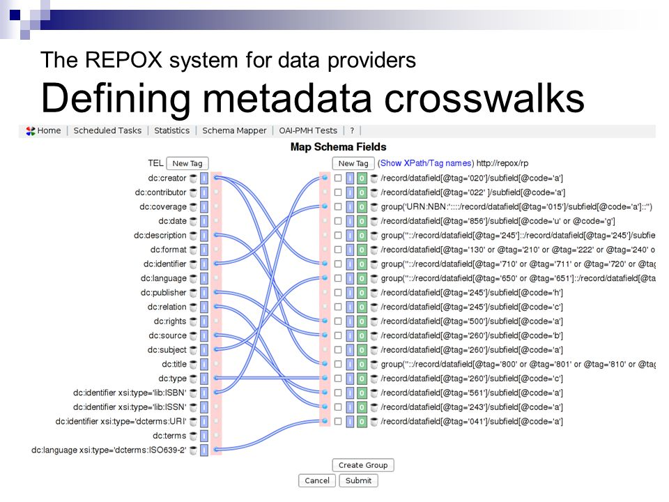 The REPOX system for data providers Defining metadata crosswalks