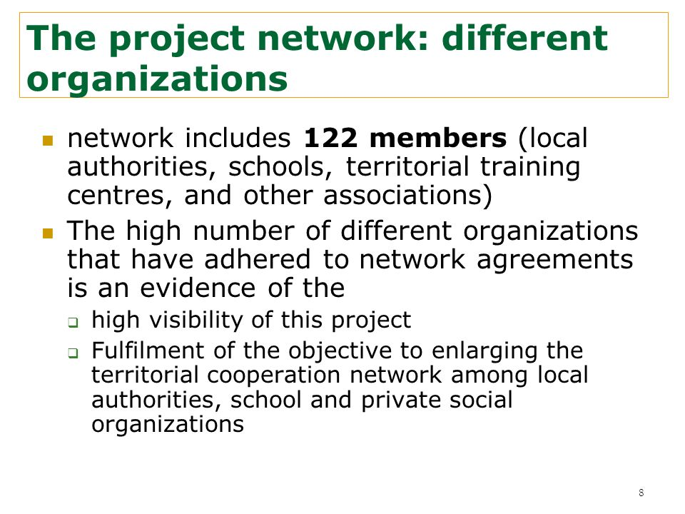 The project network: different organizations network includes 122 members (local authorities, schools, territorial training centres, and other associa