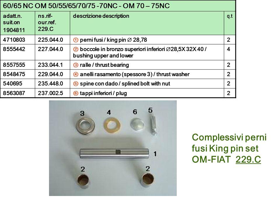 60/65 NC OM 50/55/65/70/75 -70NC - OM 70 – 75NC adatt.n. suit.on 1904811 ns.rif- our.ref. 229.C descrizione description q.t 4710803225.044.0 perni fus