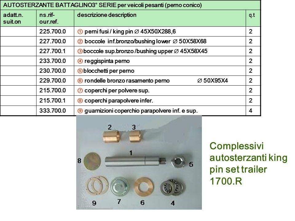 Complessivi autosterzanti king pin set trailer 1700.R AUTOSTERZANTE BATTAGLINO3° SERIE per veicoli pesanti (perno conico) adatt.n. suit.on ns.rif- our