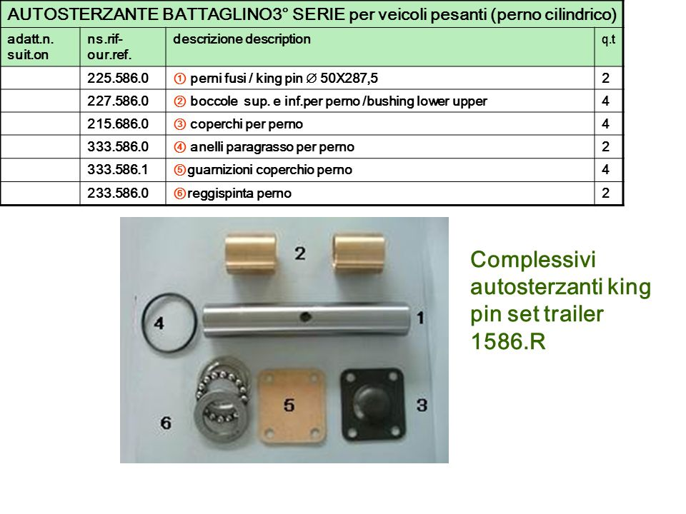Complessivi autosterzanti king pin set trailer 1586.R AUTOSTERZANTE BATTAGLINO3° SERIE per veicoli pesanti (perno cilindrico) adatt.n. suit.on ns.rif-
