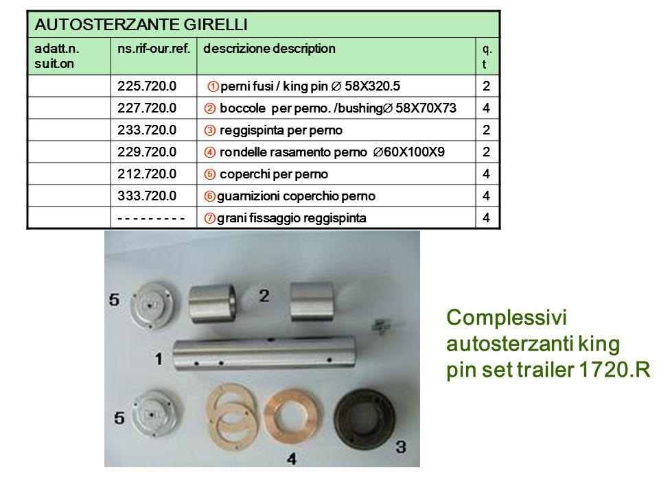 Complessivi autosterzanti king pin set trailer 1720.R AUTOSTERZANTE GIRELLI adatt.n. suit.on ns.rif-our.ref.descrizione description q. t 225.720.0 per