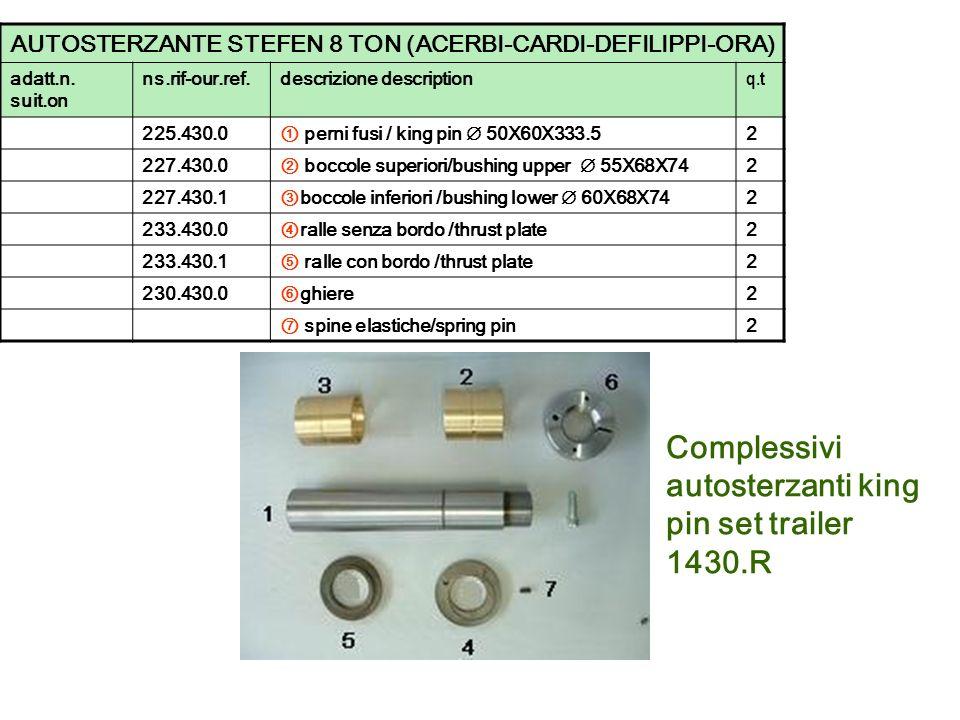 Complessivi autosterzanti king pin set trailer 1430.R AUTOSTERZANTE STEFEN 8 TON (ACERBI-CARDI-DEFILIPPI-ORA) adatt.n. suit.on ns.rif-our.ref.descrizi