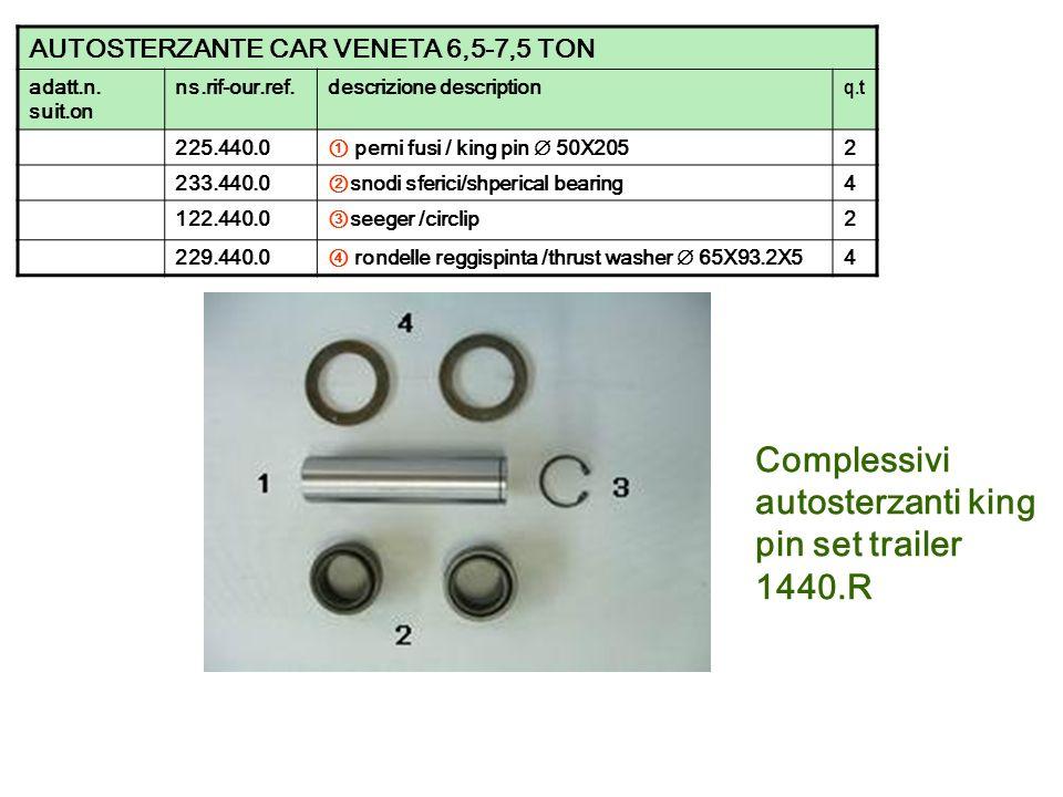 Complessivi autosterzanti king pin set trailer 1440.R AUTOSTERZANTE CAR VENETA 6,5-7,5 TON adatt.n. suit.on ns.rif-our.ref.descrizione description q.t