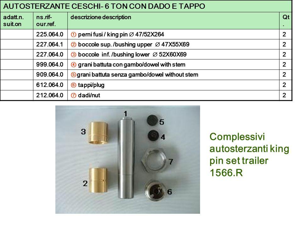 Complessivi autosterzanti king pin set trailer 1566.R AUTOSTERZANTE CESCHI- 6 TON CON DADO E TAPPO adatt.n. suit.on ns.rif- our.ref. descrizione descr